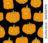 halloween seamless pattern with ... | Shutterstock .eps vector #306506990