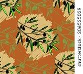 olive seamless pattern. hand... | Shutterstock .eps vector #306525029