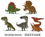 cute dinosaurs set  vector | Shutterstock .eps vector #306531668