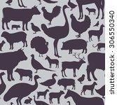 vector farm animals seamless... | Shutterstock .eps vector #306550340