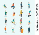 isometric 3d vector people. set ... | Shutterstock .eps vector #306559568
