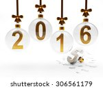 glass christmas balls with 2016 ...   Shutterstock . vector #306561179