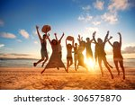 group of happy young people... | Shutterstock . vector #306575870