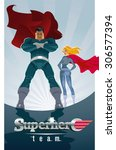 superhero couple  male and... | Shutterstock .eps vector #306577394