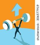 winner raises the barbell up....   Shutterstock .eps vector #306577919