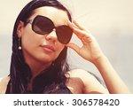 beautiful girl portrait... | Shutterstock . vector #306578420