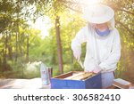 beekeeper in veil at apiary... | Shutterstock . vector #306582410