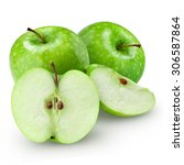 green apple and half with leaf... | Shutterstock . vector #306587864