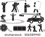 film reel silhouette icon set | Shutterstock .eps vector #306589940