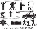 film reel silhouette icon set | Shutterstock .eps vector #306589940