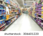 Stock photo blur image of pet food aisle in super market 306601220