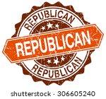 republican orange round grunge...