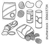 vector set of potato chips | Shutterstock .eps vector #306615734