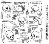hand drawn doodle set with... | Shutterstock .eps vector #306617513
