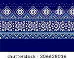 blue jacquard pattern fair isle | Shutterstock .eps vector #306628016