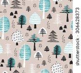 seamless scandinavian style... | Shutterstock .eps vector #306628373