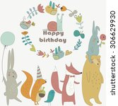 birthday card with cute bunny ... | Shutterstock .eps vector #306629930