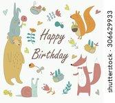 Birthday Card With Cute Bunny ...