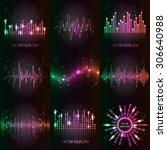 vector sound waves set. audio... | Shutterstock .eps vector #306640988