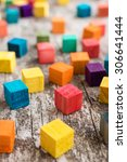 colorful wooden building blocks.... | Shutterstock . vector #306641444
