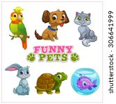 funny cartoon pets collection ... | Shutterstock .eps vector #306641999