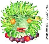 label funny face vegetables.... | Shutterstock . vector #306642758