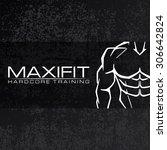 bodybuilder silhouette vector... | Shutterstock .eps vector #306642824