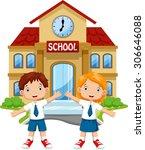 school children posing in front ... | Shutterstock .eps vector #306646088