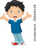 happy boy cartoon | Shutterstock .eps vector #306646118