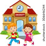 students walk in front of the... | Shutterstock . vector #306646244