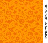 halloween orange festive... | Shutterstock .eps vector #306649088