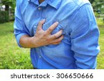 man having chest pain   heart... | Shutterstock . vector #306650666