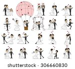 set of wedding pictures  bride... | Shutterstock .eps vector #306660830