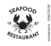 seafood restaurant label or... | Shutterstock . vector #306670238
