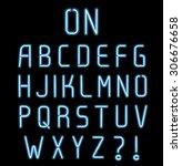 neon light font  complete... | Shutterstock .eps vector #306676658