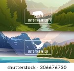 landscape banners on themes ... | Shutterstock .eps vector #306676730