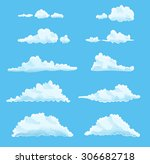 set of cartoon clouds on blue.... | Shutterstock .eps vector #306682718