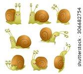 set of cute cartoon snails.... | Shutterstock .eps vector #306682754