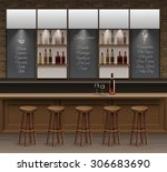 bar cafe beer cafeteria counter ... | Shutterstock .eps vector #306683690