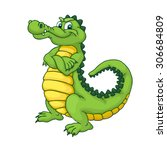 Cute Cartoon Crocodile. Happy...