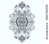 ornament black white card with... | Shutterstock .eps vector #306706550