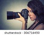 Side Profile Young Woman Takin...