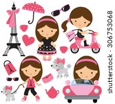 Stock vector paris girl vector illustration 306753068