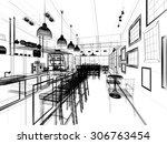 sketch design of coffee shop ... | Shutterstock . vector #306763454
