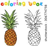 cartoon pineapple coloring book....   Shutterstock . vector #306774758