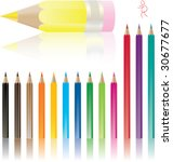color pencils with shadows... | Shutterstock .eps vector #30677677