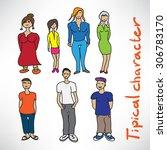 set of distinctive characters... | Shutterstock . vector #306783170