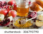 honey  apple  pomegranate and... | Shutterstock . vector #306793790