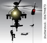 military helicopter drops... | Shutterstock .eps vector #306794873