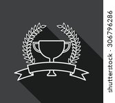 trophy cup and laurel flat icon ...